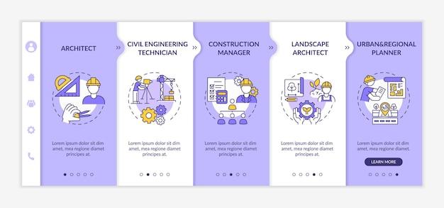 Modelo de integração de trabalhador especialista em engenharia civil. arquiteto profissional, gerente de projeto. site móvel responsivo com ícones. telas de passo a passo da página da web. conceito de cor