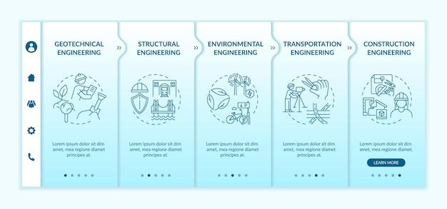 Modelo de integração de trabalho de engenharia civil. especialista geotécnico, planejamento de transportes. site móvel responsivo com ícones. telas de passo a passo da página da web. conceito de cor rgb