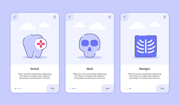 Modelo de integração para aplicativos móveis design de interface do usuário para medical icon dental