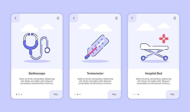 Modelo de integração para design de aplicativos móveis ui estetoscópio médico