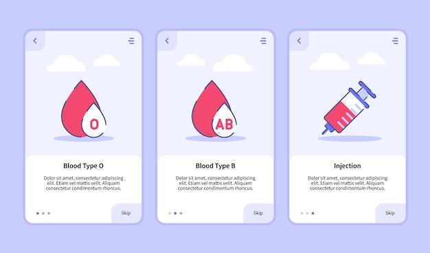 Modelo de integração para design de interface do usuário de aplicativos móveis para ícone médico tipo de sangue o