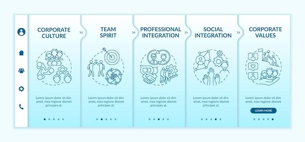 Modelo de integração profissional e social. site móvel responsivo. satisfação e tratamento dos clientes. telas de passo a passo da página da web. conceito de cor rgb
