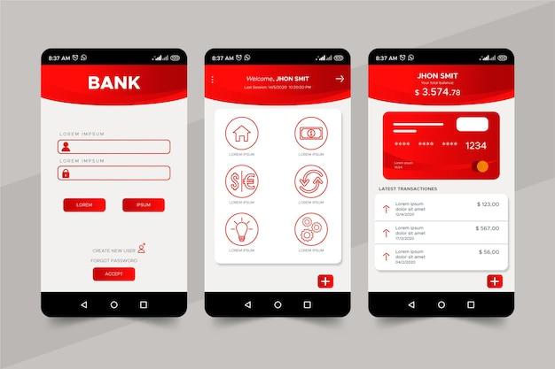 Modelo de interface de aplicativo bancário