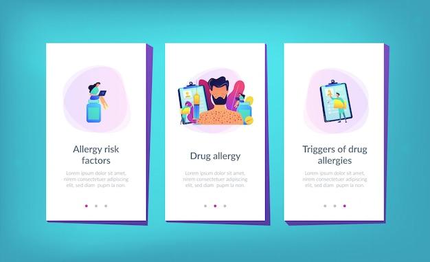 Modelo de interface de aplicativo de alergia a drogas.