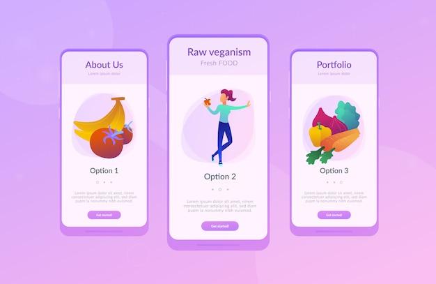 Modelo de interface de aplicativo de alimentos crus vegan.