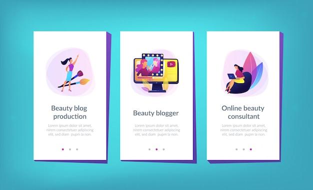 Modelo de interface de aplicativo de blogueiro de beleza.