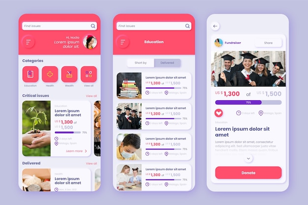 Modelo de interface de aplicativo de caridade