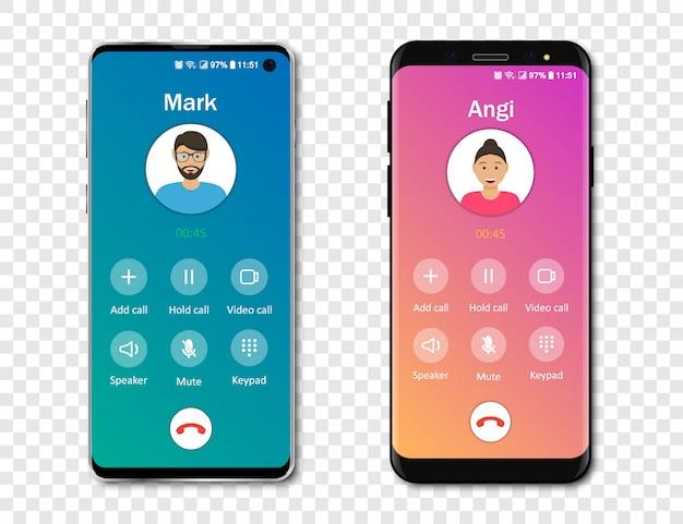 Modelo de interface de aplicativo de chamada de smartphone em um fundo transparente. conceito de chamada recebida. ilustração