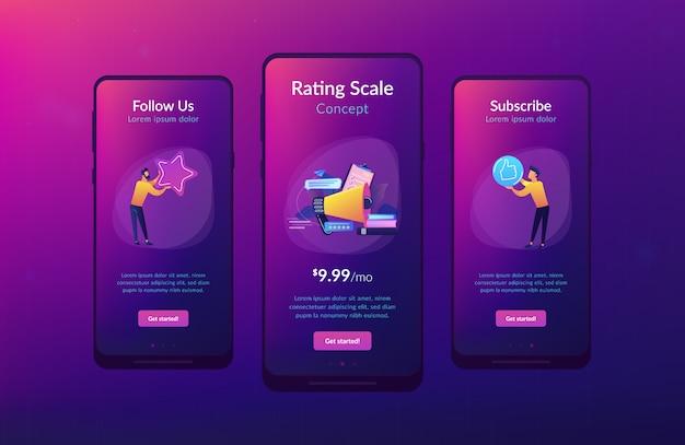 Modelo de interface de aplicativo de classificação superior