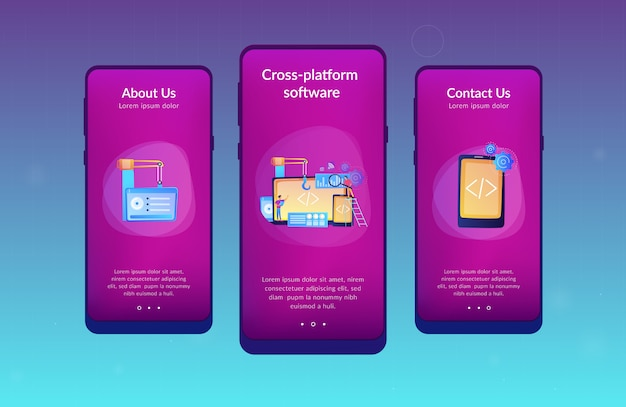 Modelo de interface de aplicativo de desenvolvimento de plataforma cruzada.