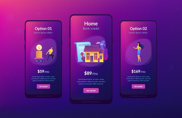 Modelo de interface de aplicativo de empréstimo hipotecário.