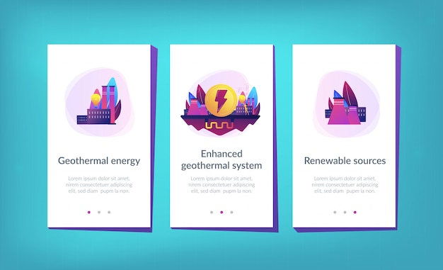 Modelo de interface de aplicativo de energia geotérmica.