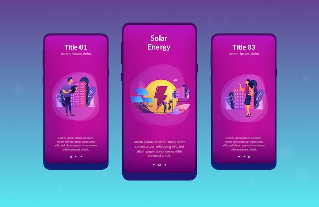 Modelo de interface de aplicativo de energia solar.