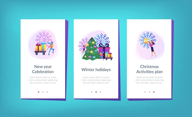 Modelo de interface de aplicativo de férias de inverno.