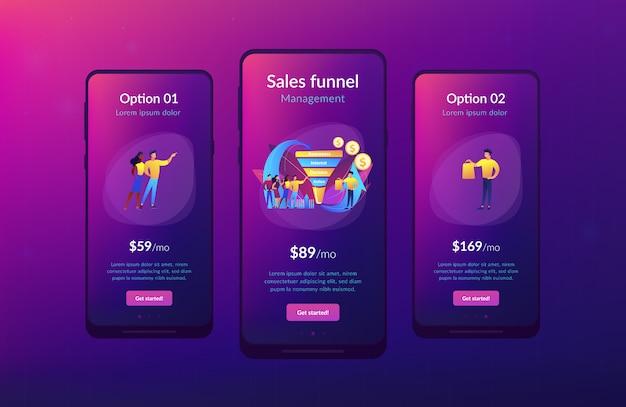 Modelo de interface de aplicativo de gerenciamento de funil de vendas