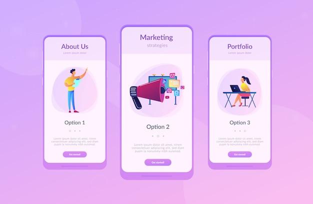 Modelo de interface de aplicativo de marketing