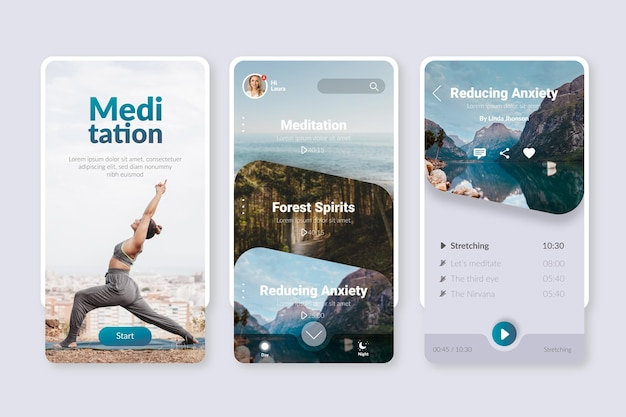 Modelo de interface de aplicativo de meditação