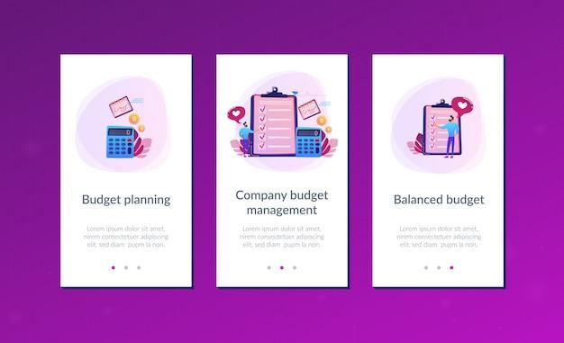 Modelo de interface de aplicativo de planejamento orçamentário