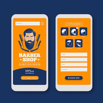 Modelo de interface de aplicativo de reserva de barbearia