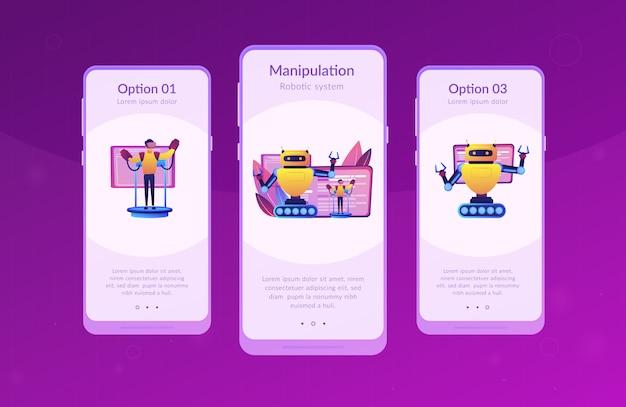 Modelo de interface de aplicativo de robôs operados remotamente.