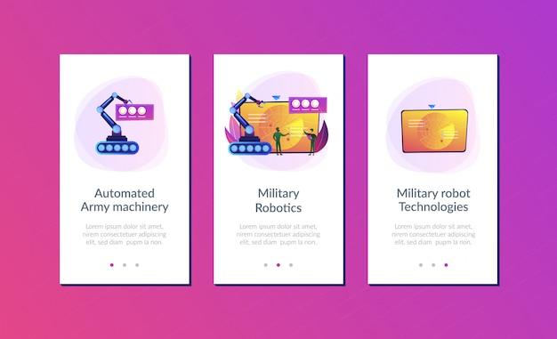 Modelo de interface de aplicativo de robótica militar.