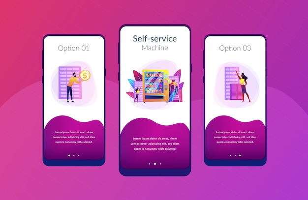 Modelo de interface de aplicativo de serviço de máquina de venda automática.