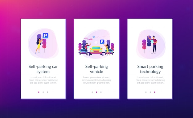 Modelo de interface de aplicativo de sistema de estacionamento com estacionamento próprio.