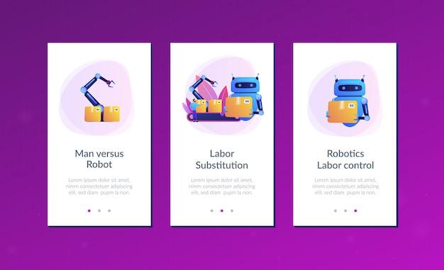 Modelo de interface de aplicativo de substituição de mão de obra.