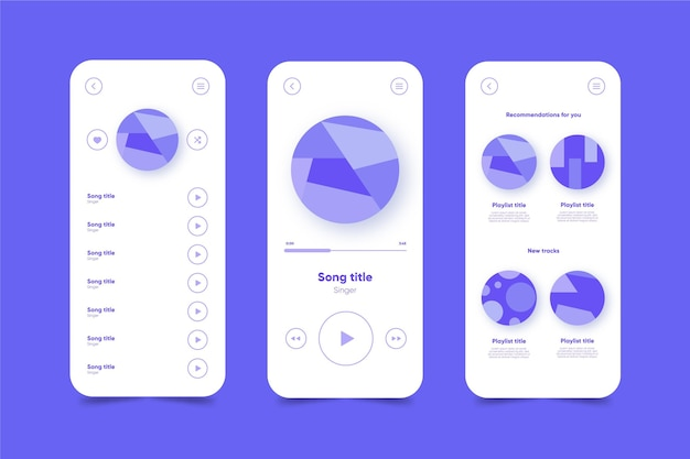 Modelo de interface de aplicativo do music player