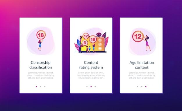 Modelo de interface de aplicativo do sistema de classificação de conteúdo.