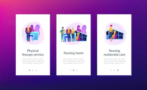 Modelo de interface de aplicativo para lar de idosos.