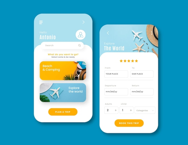 Modelo de interface de aplicativo para reserva de viagens