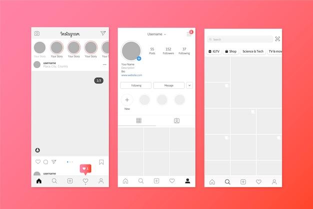 Modelo de interface de histórias do instagram