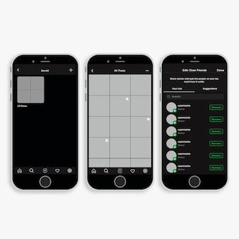 Modelo de interface de perfil do instagram com smartphone