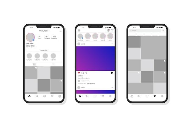 Modelo de interface de perfil do instagram com telefone celular