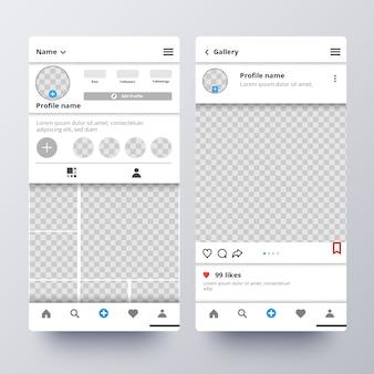 Modelo de interface de perfil do instagram