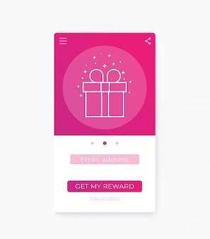 Modelo de interface do aplicativo de recompensa