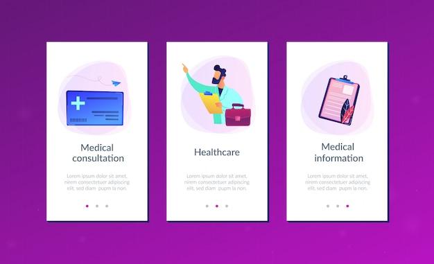 Modelo de interface do aplicativo de saúde cartão inteligente.