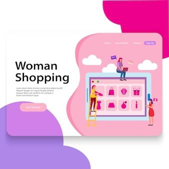 Modelo de interface do usuário de ilustração de loja de mulher de página de desembarque