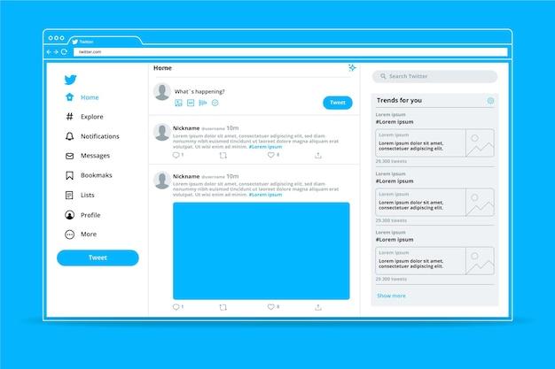 Modelo de interface minimalista do twitter