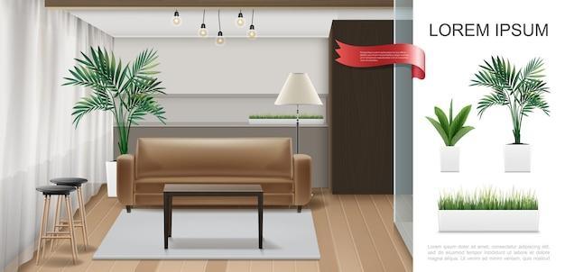 Modelo de interior de casa realista com cadeiras de mesa de aquário em plantas de lâmpadas de assoalho de madeira e grama em ilustração de vasos de flores