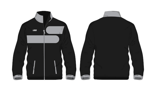 Modelo de jaqueta esporte cinza e preto