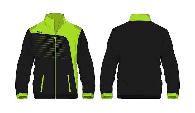 Modelo de jaqueta esporte verde e preto para design em fundo branco. ilustração em vetor eps 10.