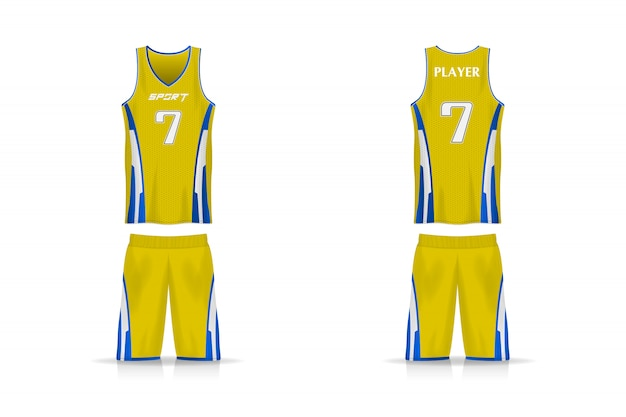 Modelo de jersey de cesta de especificações. esporte t shirt uniforme com decote em v. desenho de ilustração