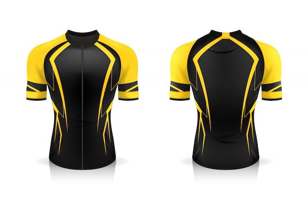 Modelo de jersey de ciclismo de especificação. esporte camiseta uniforme gola redonda para vestuário de bicicleta. ilustração, camadas de trabalho separadas.