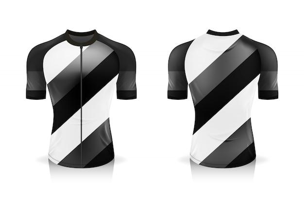 Modelo de jersey de ciclismo de especificação. sport t shirt gola redonda uniforme para vestuário de bicicleta. ilustração, camadas de trabalho separadas.