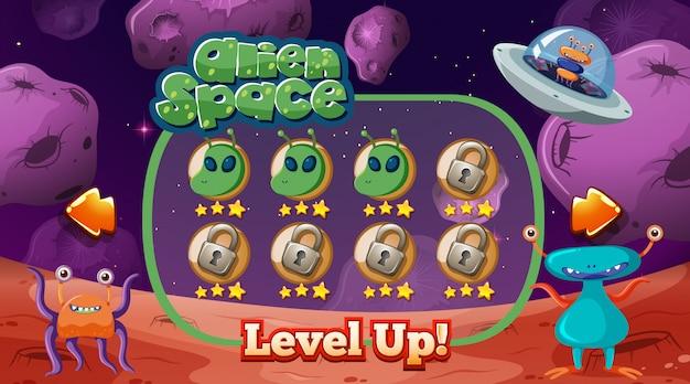 Modelo de jogo alienígena no espaço