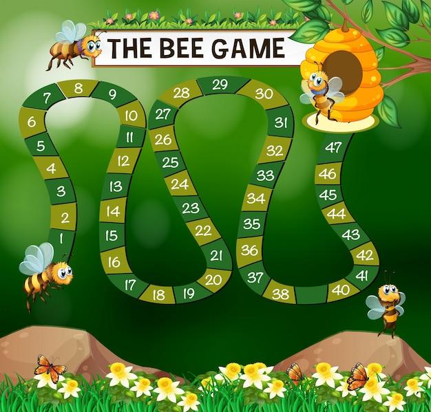 Modelo de jogo com abelhas voando no jardim