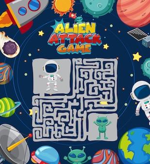Modelo de jogo com astronauta e muitos planetas