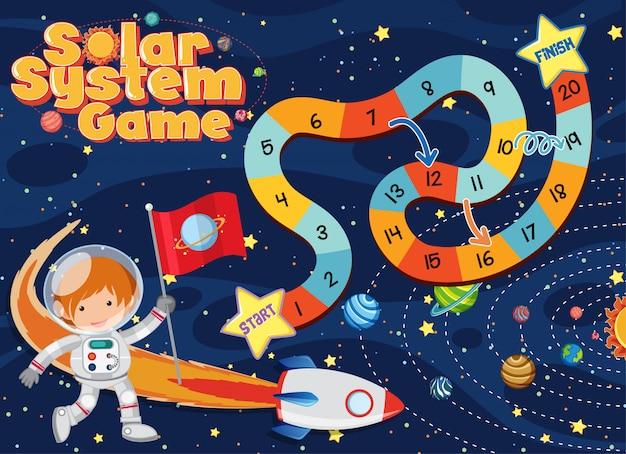 Modelo de jogo com astronauta e nave espacial